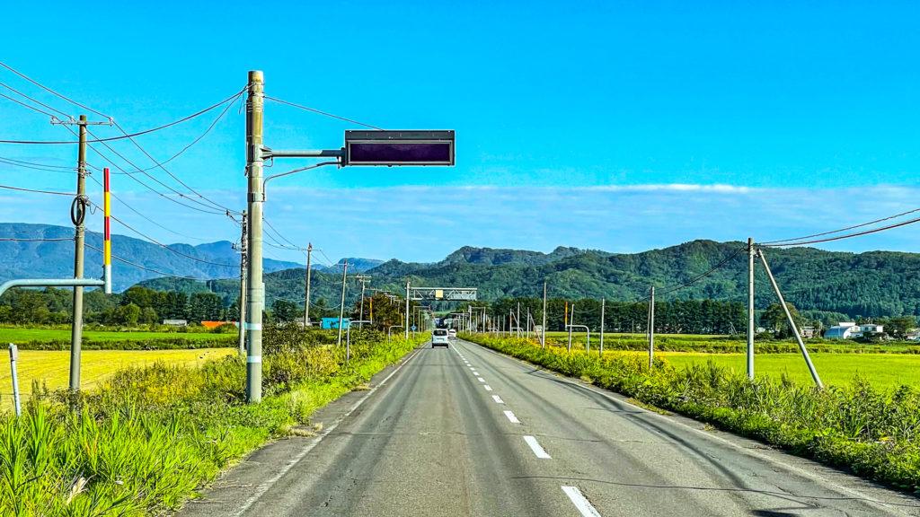 北海道のオービスの電光掲示板(2021年度釧路市阿寒付近)